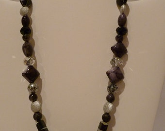 Black and gray beaded necklace