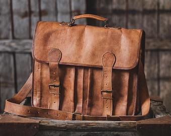 """Leather Briefcase 16"""" / Leather Messenger Bag / Laptop Bag / Handbag / Satchel / Hip Bag / Shoulder Bag / Carry Bag / Cabin Travel Bag"""