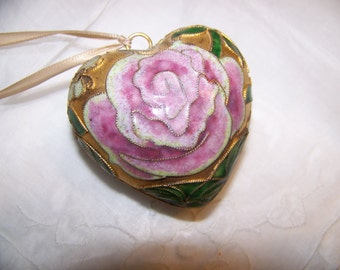 Enamed Pink Heart, Hollow Brass Collectible