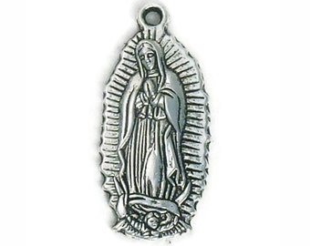 8 Oval Silver Our Lady of Guadalupe Medal 28x13mm by TIJC - SP1014