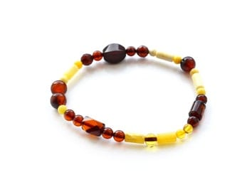 Baltic amber genuine bracelet jewelry from Lithuania. Multicolor amber bracelet polished true Baltic amber  2155