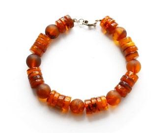 Raw amber men's bracelet - Baltic amber bracelet with healing amber - Men's bracelet from Lithuania - Authentic amber jewelry - 2802
