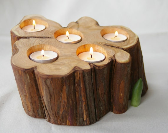 Candle holder juniper unique candle holder wooden candle for Creative candle holders