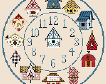 Bird House Clock Cross Stitch Chart  / Pattern