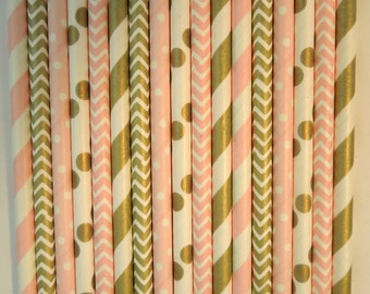 50 Gold Light Pink Paper Straws Gold Stripe Straw Mason Jar Straws Pink Stripe Straw Rustic Wedding Straws Birthday Party Bridal Baby Shower