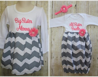 Big Sister Little Sister Dresses - Baby Announcement Dress - Grey Chevron - Coral Flower - Baby Shower Gift - With Headband