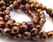 Opaque Red Bronze Hematite 4mm Facet Round Czech Glass Fire Polished Beads 50pc #2819