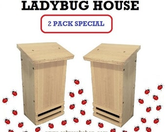 Ark Workshop Ladybug House 2 PACK cedar shelter box for lady bugs and garden insect aphid control
