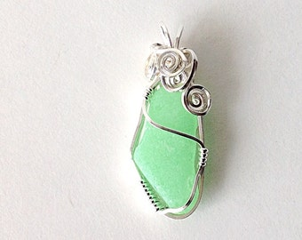 Jadeite Sea Glass Pendant, Handcrafted Sterling Silver Jewelry, Green English Beach Glass Necklace