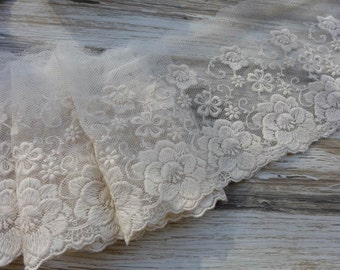 "Ivory Lace Tulle Embroidered Flower Floral Trim Fabric 4.33"" wide 2 yards"