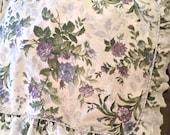 Vintage Pillow Sham Floral Ruffle Edge Standard Size Dan River Blues White Lace