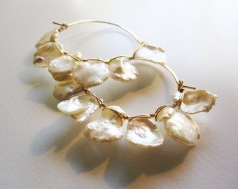 Lustrous and Large Keishi Pearls Gold Fill Basket Hoop Earrings