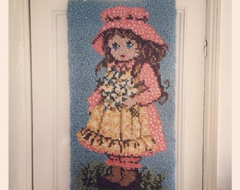Reduced *Rug with Holly Hobby type girl - 1970's .