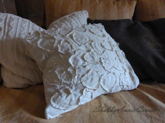 Shabby Chic White Throw Pillows : White pillow cover, Shabby chic pillow, Linen White, Hearts Pillow Cover, Decorative sham ...