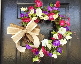 Petunia wreath, wreaths, summer wreath, door wreath, spring wreath