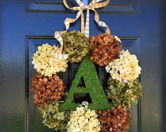 Fall monogram wreath, hydrangea wreath, moss monogram, fall door wreath