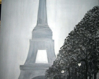 Paris Winter Day at the Eiffel Tower an Original Oil in full color on 24x36x1 canvas