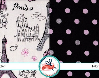 PARIS GLITTER Fabric Bundle Fabric by the Yard, Fat Quarter Bundle 2 Fabrics Paris Fabric 100% Cotton Fabric Quilting Fabric Apparel Fabric