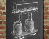 Beer Keg Cold Air Pressure Tap Poster, Beer Patent, Brewery Blueprint, Beer Brewing, Beer Art