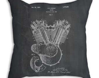 Harley Davidson Engine 1919 Patent Pillow, Harley Davidson Bedding, Motorcycle Blueprint, Harley Motorcycle, Motorcycle Bedding, PP0024