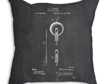 Edison Bulb Patent Pillow, Lighting Decor, Thomas Edison, Technology Art, PP0133