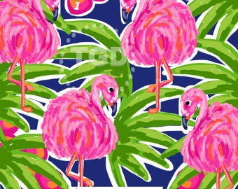 Preppy Flamingo digital paper pink, orange, navy, green - Original Art download, preppy download, preppy flamingos