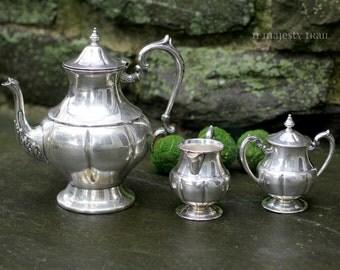 4 Pc Ornate Silverplate Tea Set. Vintage. Serving. Tea Pot, Sugar w Lid, Creamer. Tea Party. Home Decor. Victorian. Art Deco. Classic. Chic.