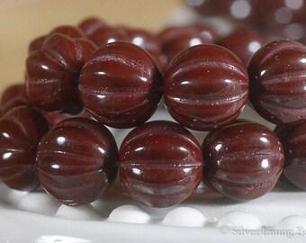 Oxblood Melons (25) - Czech Glass Bead - 8mm - Melon