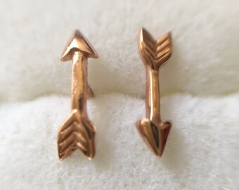 18K Rose Gold 925 Sterling Silver Mini Arrow Stud Earrings - ES6097RGP