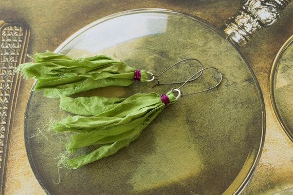 Green Chiffon Sari Silk Earrings with Amethyst Wire Wrap