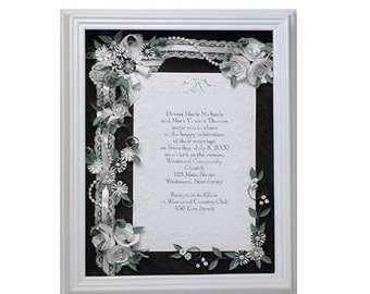 Framed invitation, Framed wedding invitation, Black white wedding, Formal wedding, Bridal shower gift, Wedding anniversary gift, Keepsake