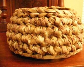 Crocheted Cloth Basket, Brown Basket, Rag Basket, Brown Storage Basket, Crocheted Items