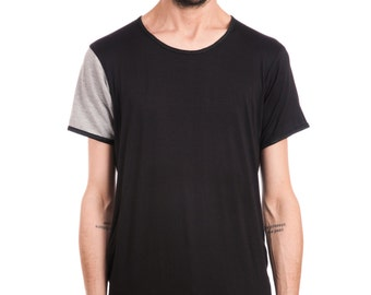 tee with color blocking - black and grey