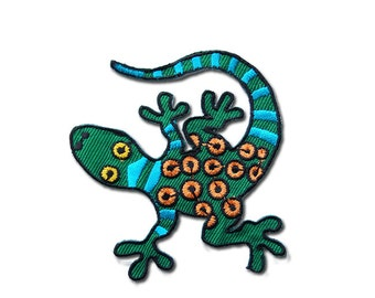 Gecko  Patch -Green Gecko Embroidered Iron on Patch/ Gecko Iron on Applique  / Lizard Patch