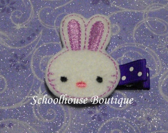 Lavender Bunny felt Hair Clips, Easter Basket Filler, Felties, Felt Hair Clip, Felt Hair Clippie, Hair Accessories