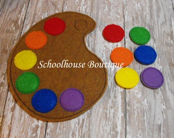 Paint Pallet Color Matching Felt Game - Easter Basket Filler - Felt Puzzle - Travel Game - Quiet Game - Learning Game - Party Favor