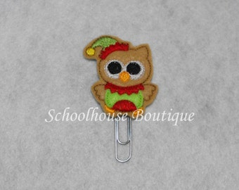 Elf Owl felt paperclip bookmark, felt bookmark, paperclip bookmark, feltie paperclip, christmas gift, teacher gift