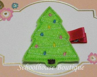 Lime Green Christmas Tree Felt Hair Clip -Felties-Feltie Hair Clip - Felt Hairbow - Felt Hair Clips - Felt Hair Clippie-Party Favor