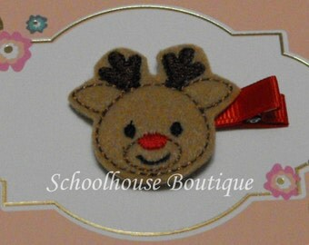 Reindeer with red nose Felt Hair Clips -  Felties-Feltie Hair Clip - Felt Hairbow - Felt Hair Clips - Felt Hair Clippie-Party Favor