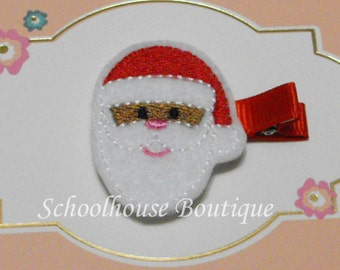 Tan Santa Felt Hair Clips, Felties, Feltie Hair Clip, Felt Hairbow, Felt Hair Clip, Felt Hair Clippie, Party Favor