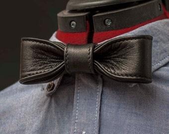 Skinny Black Leather Bow Tie