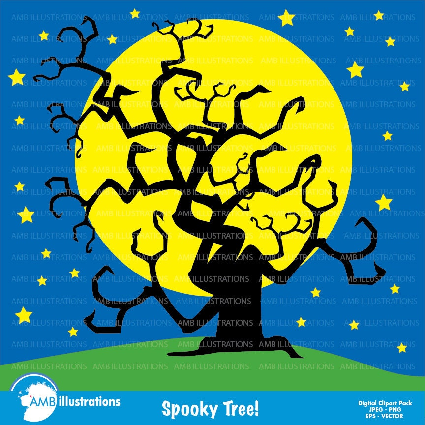 Halloween clipart spooky tree clipart commercial use vector