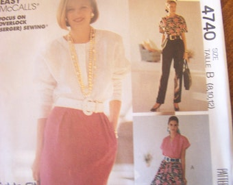 Sew News from de McCalls 4740, Sizes 8-12, skirts and pants, UNCUT sewing pattern, misses, supplies