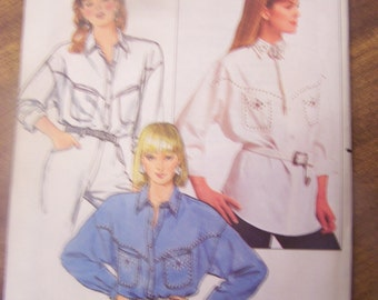 Misses shirt sewing pattern, Butterick 4693, UNCUT, craft, supplies, Sizes 8-10-12,