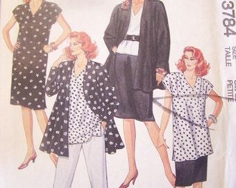 McCalls 3784, size small, petite, womens, misses UNCUT sewing pattern, jacket, dress, top, tunic, skirt, pants