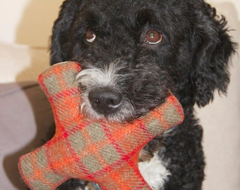 Harris Tweed and canvas squeaker dog toy, dog lovers gift, Harris Tweed dog toy