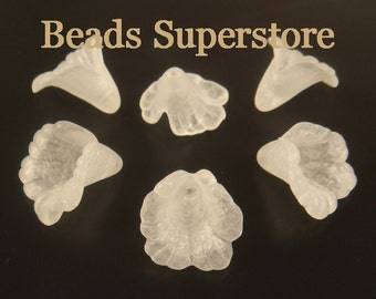 SALE 16 mm x 15 mm White Lucite Flower Bead - 10 pcs