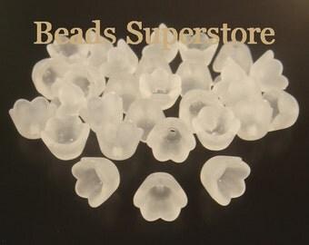 SALE 10 mm x 6 mm White Lucite Flower Bead - 20 pcs