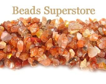 SALE GENUINE Carnelian Semi-Precious Gemstone Chip Bead - Natural - FULL Strand