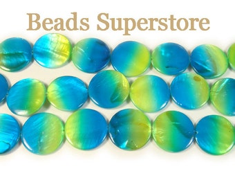 CLOSEOUT 20 mm GENUINE Aqua Green Mother of Pearl Flat Round Bead - 16 Inch Strand